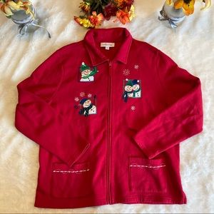 Breckenridge Red Full Zip Christmas Sweatshirt XL
